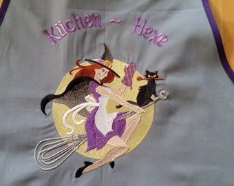 "Cooking ""Kitchen Witch"", apron, apron, embroidered"