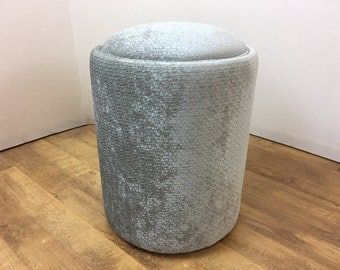 Textured Chenille Silver Round Foot Stool