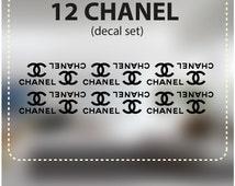 CHANEL Themed Vinyl Decals/ Vinyl Decals CHANEL/ 12 chaner decal set/ chanel envelope seals/  chanel decor/ CC decals/ coco chanel decor