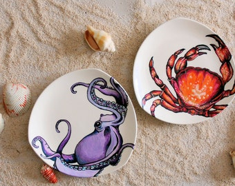 """Four Hand Painted, Upcycled """"Under the Sea"""" Side/Dessert Plates"""