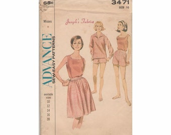 1960's Advance 3471 Sports Seperates Vintage Sewing Pattern Size 10