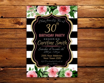 30th Birthday Party Invitation. PINK and GOLD Floral 30th Birthday Invitation. Milestone Birthday. Gold Glitter.
