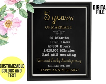 5 Year Wedding Anniversary Gift 5th Anniversary PRINTABLE Digital File Personalized, Gift for Couples, 5th Anniversary Chalkboard