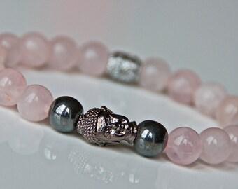 Love and Relationship Rose Quartz Buddha Bracelet, Wrist Mala, Meditation, Heart Chakra Healing, Boho Bracelet,Zen Reiki Bracelet,Japa Mala,