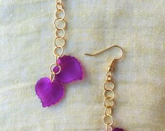 Amethyst Leaf Gold Dangle Earrings