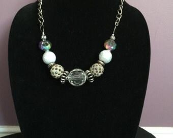 White, Silver & Plum Necklace