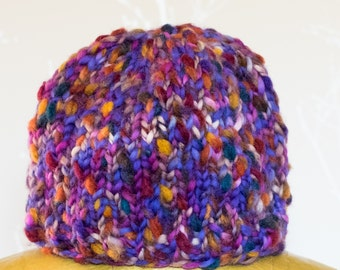 Alice handknitted beanie hat in 'dusk purple'