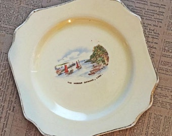 """Old and Rare Crown Devon Plate """"The Harbor Entracnce, Looe"""" England"""