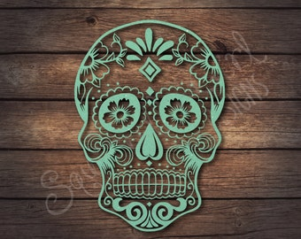 GLITTER Sugar Skull Decal