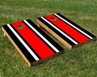 Classic Stripe - Black, White, Red Cornhole Board Set