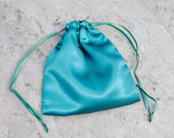 "Emerald Green Satin Gift Bags / 3 Bags / Drawstring Pouch / 4 x 4.5"" / Jewelry Bag"