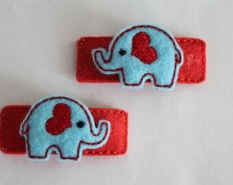 Elephant hair clips of hair clips hair clasps made of felt (1 pair) by quackies