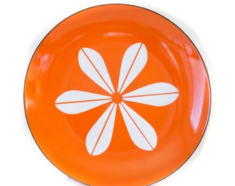 Orange Cathrineholm Lotus enamelware 10 inch plate
