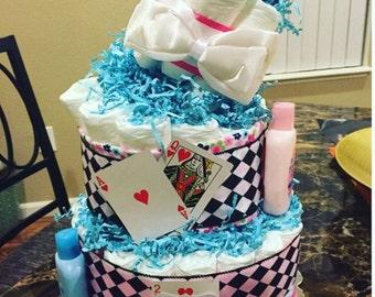 Alice in Wonderland Themed Diaper Cake
