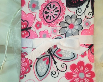 """Pink and Gray Flowers and Butterflies Baby Girl Receiving Blanket 30""""x30"""" - Free Shipping"""