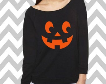 Pumpkin Halloween Sweatshirt Ladies 3/4 Sleeve Sweatshirt Oversized Scary Halloween Party Tee Halloween Tank Top Pumpkin Face Jack-O-Lantern