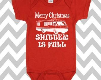 Merry Christmas Shitter Is Full Onesie Funny Christmas Onesie Christmas Bodysuit Christmas Baby Onesie Christmas Vacation Onesie Baby Outfit