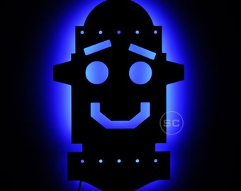 Lighted Robot Face Sign and Night Light for the Kids Playroom - Lighted Robot Decor