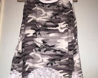 Black, White, Grey Camo Women's size medium Tank