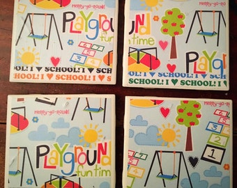 """Ceramic """"Back to School"""" themed coasters"""