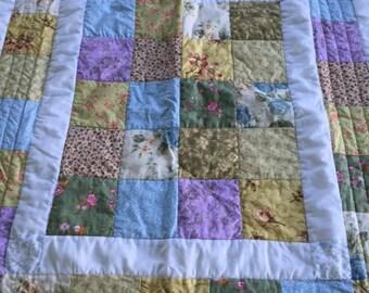 Vintage scrappy patchwork quilt