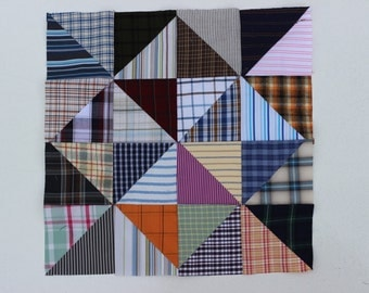 """Charm pack of 32 triangles, new and upcycled men's shirt fabric, 4.5"""" each FREE SHIPPINg"""