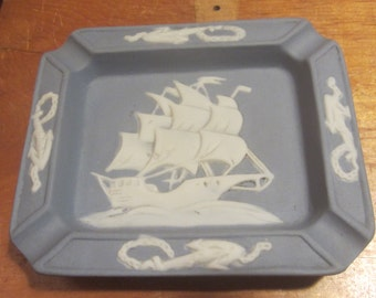 "Vintage Blue Jasperware Nautical Clipper Ship with Anchors 4 Rests Ashtray Trinket Dish 5"" x 4"" Japan"