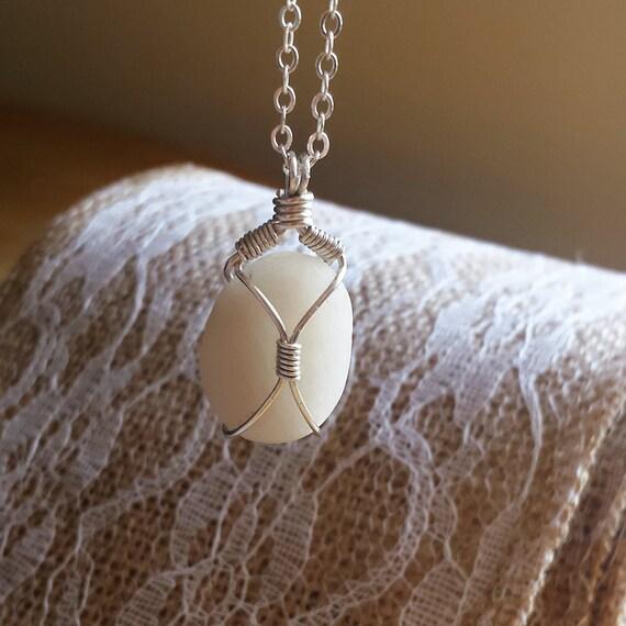 Beach Stone Silver Pendant Necklace