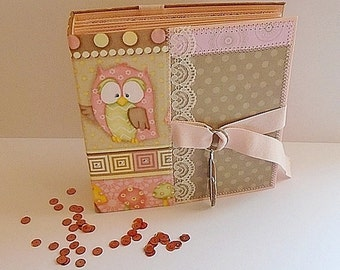"Beautiful Scrapbook Photo Аlbum ''THE LITTLE OWL"", Children's Gift, Handmade, Album size  6,5ʺx6,5ʺ"