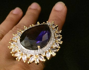 Oversize Sapphire & CZ Ring