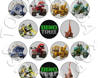 14x EDIBLE Dinotrux Cupcake Toppers - Wafer Paper Sheet diy - Circle Round 4cm (uncut)