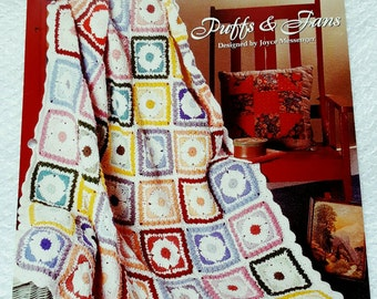 1995 The Needlecraft Shop Puffs and Fans Crochet Afghan Pattern