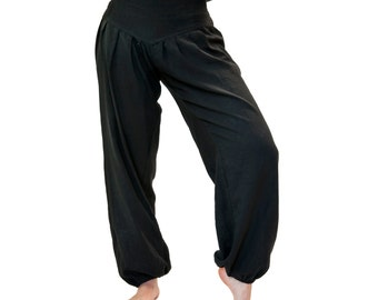 Harem trousers, S M, black cotton harem pants