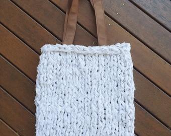 Knit Tote Bag - White
