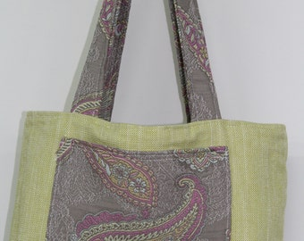Paisley And Lime Green Fully Reverible Bag