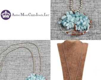 Handmade Natural Aquamarine wire crochet 'Tree of Life' Pendant with chain