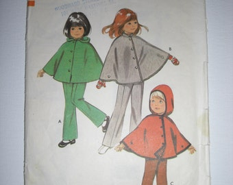 Vintage Sewing Pattern Style Child's Cape and Trousers/Pants 70's UN CUT