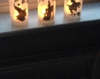 Halloween battery operated tea light jars