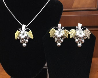 Silver and brass grapes necklace and pierced earrings