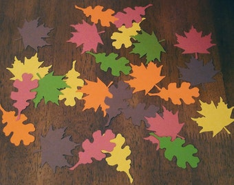 Autumn Leaf Confetti  (140 pieces) - Fall Table Decorations,Die Cut, Olive Green, Orange, Yellow, Red, Brown