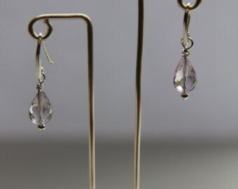 Faceted Amethyst Drop Earrings
