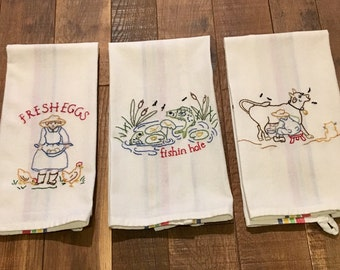 Missy's Hand-Embroidered Cotton Dish Towels
