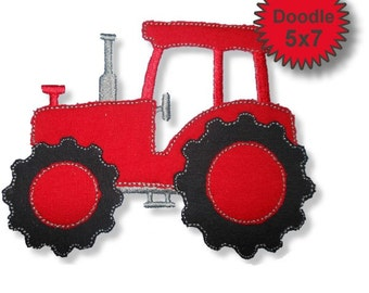 Tractor - Machine Embroidery Applique Designs - 5x7 - Instant Download