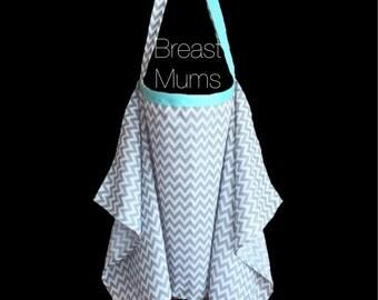 Breastfeeding Nursing Cover Apron Grey/Aqua Zig Zag Chevron
