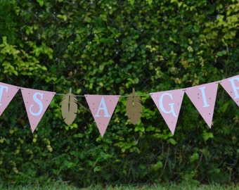 Its A Girl Banner,Aztec Banner,Boho Chic Baby Shower,Pink and Gold Baby Shower,Indian Theme,Boho Banner,Arrow and feather Banner