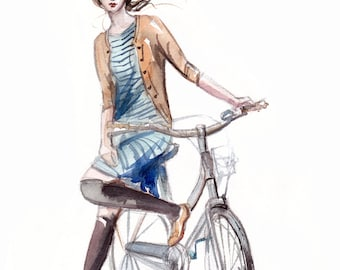 Fashion Illustration from Watercolor Painting - Girl on bike