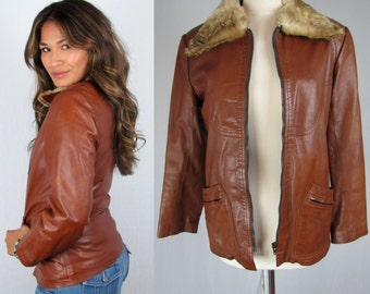Vintage 70s Brown Leather Jacket with Fur Collar and Zip off Faux Fur Lining     H1