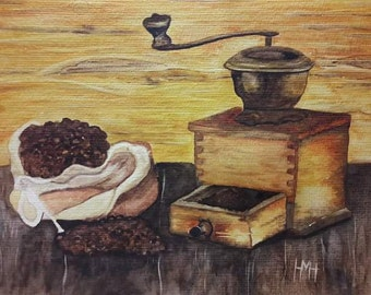 Coffee mill, Kaffeemühle,  coffe Gold brown watercolor original painting, gift