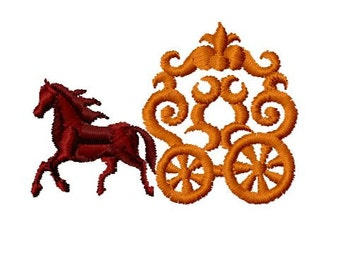 Horse and Carriage Embroidery Design, Instant Download, 4x4 Hoop Size,  8 Formats, Princess Carriage Embroidery Download