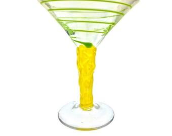 Festive Art glass Martini Cocktail Glass w/ Yellow Stem & Swirls of Vibrant Green Color, signed 2002 by Peàn Doubulyu.